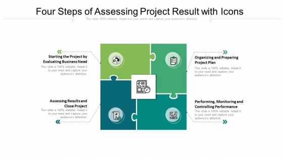 Four Steps Of Assessing Project Result With Icons Ppt PowerPoint Presentation File Infographic Template PDF