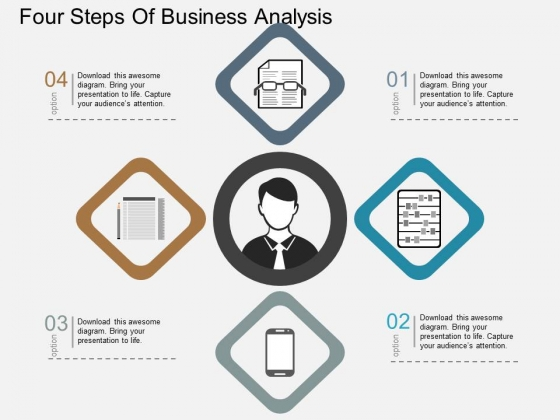 Four Steps Of Business Analysis Powerpoint Templates