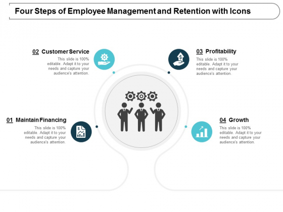 Four Steps Of Employee Management And Retention With Icons Ppt Powerpoint Presentation Gallery Slideshow