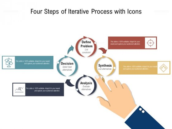 Four Steps Of Iterative Process With Icons Ppt PowerPoint Presentation File Graphics Design PDF