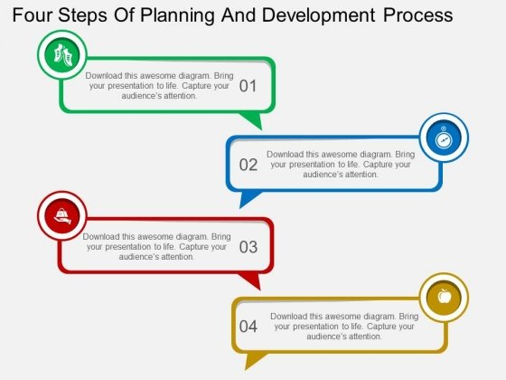 Four Steps Of Planning And Development Process Powerpoint Template