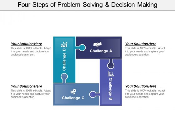 Four Steps Of Problem Solving And Decision Making Ppt PowerPoint Presentation File Graphics Template