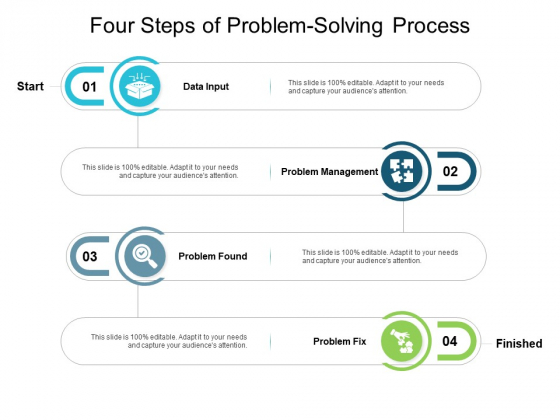 Four Steps Of Problem Solving Process Ppt Powerpoint Presentation Show Format Ideas