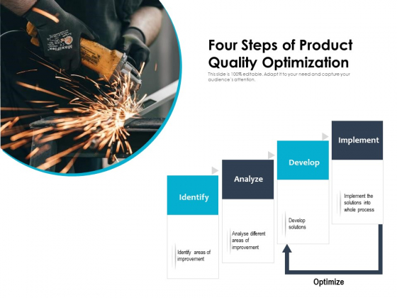 Four Steps Of Product Quality Optimization Ppt PowerPoint Presentation Inspiration Graphics Tutorials PDF