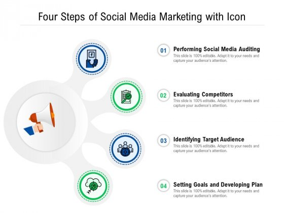 Four Steps Of Social Media Marketing With Icon Ppt PowerPoint Presentation Gallery Deck PDF