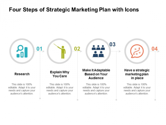 Four Steps Of Strategic Marketing Plan With Icons Ppt Powerpoint Presentation File Smartart