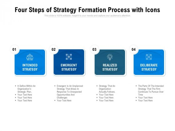 Four Steps Of Strategy Formation Process With Icons Ppt PowerPoint Presentation Layouts Templates