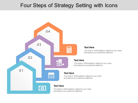 Four Steps Of Strategy Setting With Icons Ppt PowerPoint Presentation Slides Ideas