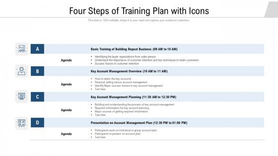 four steps of training plan with icons ppt summary ideas pdf