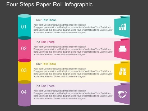 Four Steps Paper Roll Infographic PowerPoint Template