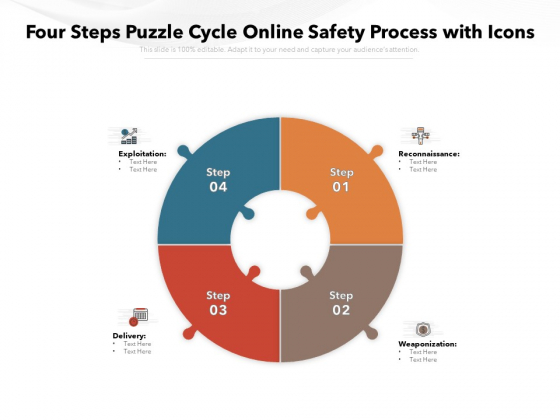 Four Steps Puzzle Cycle Online Safety Process With Icons Ppt PowerPoint Presentation Inspiration Elements PDF