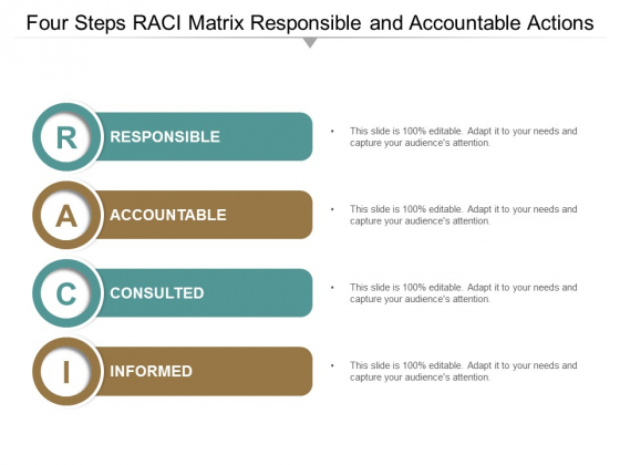 Four Steps Raci Matrix Responsible And Accountable Actions Ppt Powerpoint Presentation Inspiration Format Ideas