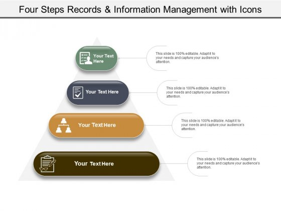 Four Steps Records And Information Management With Icons Ppt PowerPoint Presentation Pictures Design Ideas