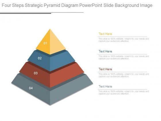 Four Steps Strategic Pyramid Diagram Powerpoint Slide Background Image