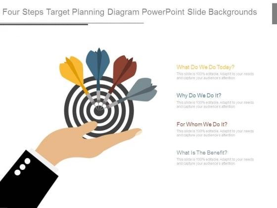 Four Steps Target Planning Diagram Powerpoint Slide Backgrounds