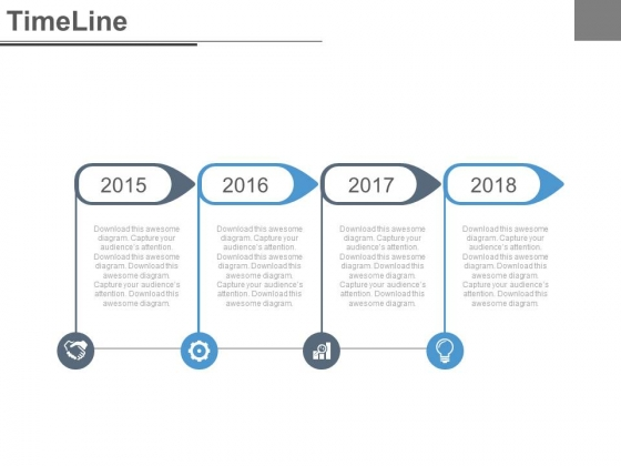 Four Steps Timeline Diagram With Icons Powerpoint Slides