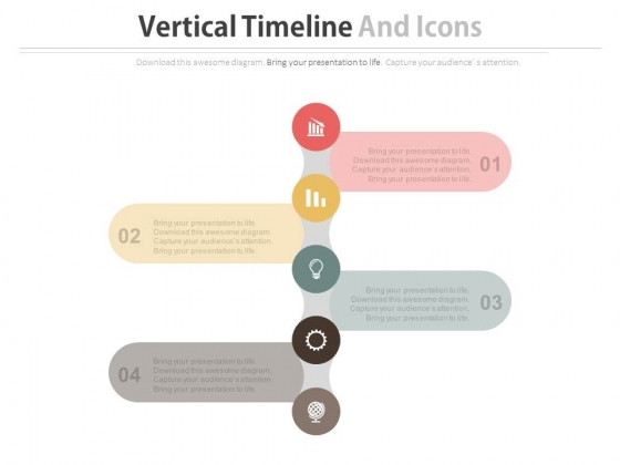 Four Steps Timeline Diagram With Icons Powerpoint Template