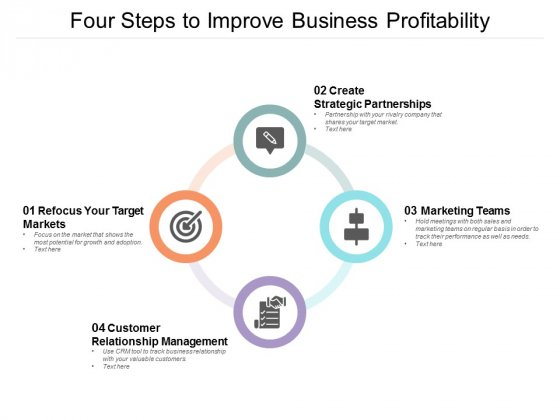 Four Steps To Improve Business Profitability Ppt PowerPoint Presentation Professional Sample