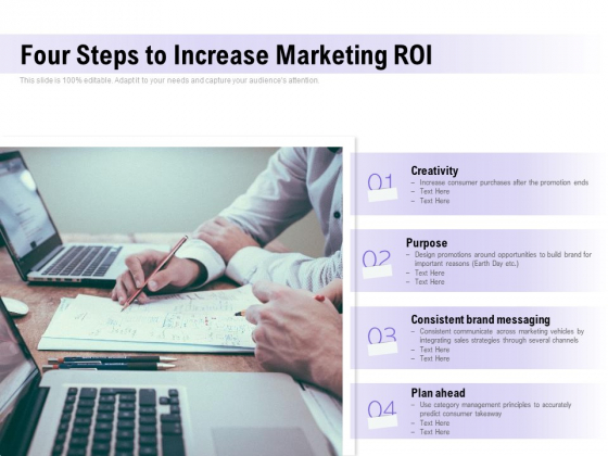 Four Steps To Increase Marketing ROI Ppt PowerPoint Presentation Slides Guide