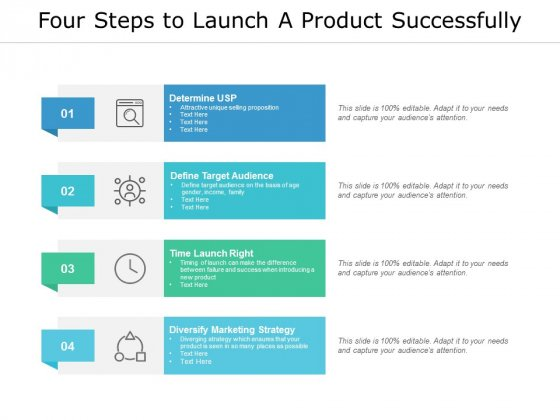 Four Steps To Launch A Product Successfully Ppt PowerPoint Presentation File Slides