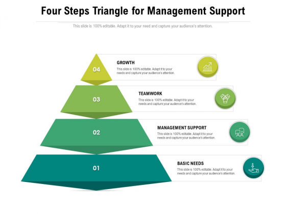 Four Steps Triangle For Management Support Ppt PowerPoint Presentation Gallery Infographic Template PDF