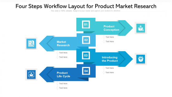 Four Steps Workflow Layout For Product Market Research Ppt PowerPoint Presentation File Brochure PDF