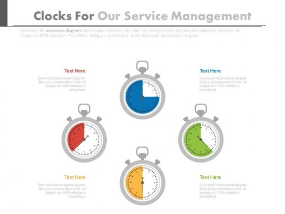 Four Stopwatches In Pie Chart Style Powerpoint Slides