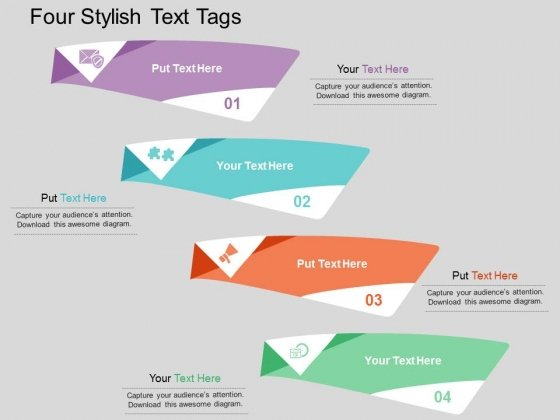 Four Stylish Text Tags Powerpoint Template