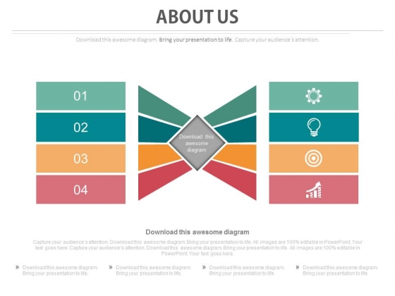Four Tags About Us Slide With Icons Powerpoint Slides