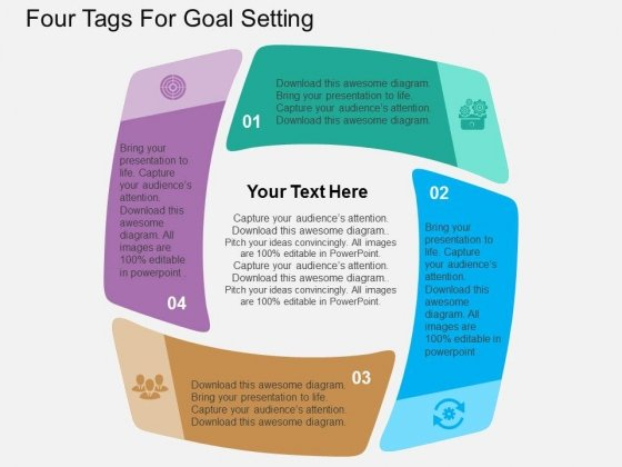 Four Tags For Goal Setting Powerpoint Templates