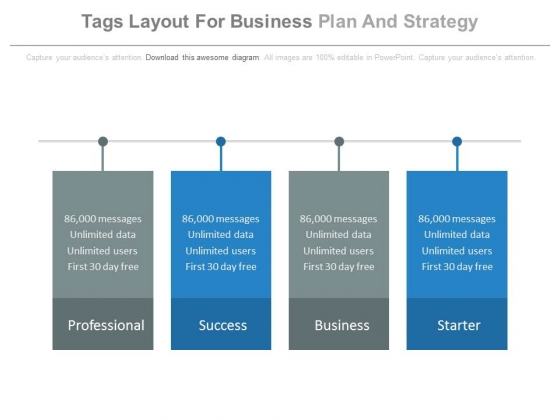 Four Tags Layout For Business Plan And Strategy Powerpoint Slides