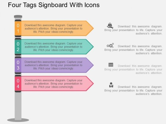 Four Tags Signboard With Icons Powerpoint Template