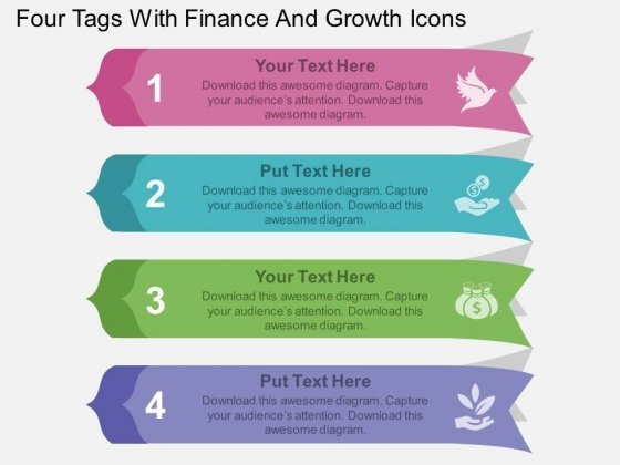 Four Tags With Finance And Growth Icons Powerpoint Template