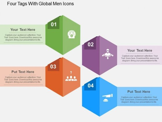 Four Tags With Global Men Icons Powerpoint Templates
