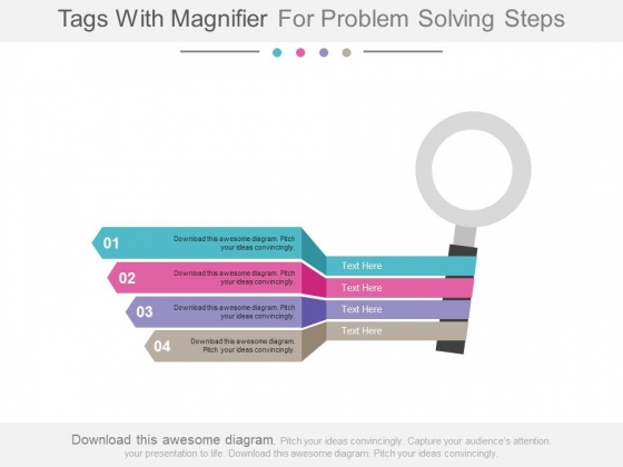 Four Tags With Magnifier For Solution Powerpoint Slides