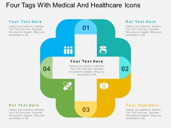 Four Tags With Medical And Healthcare Icons Powerpoint Templates