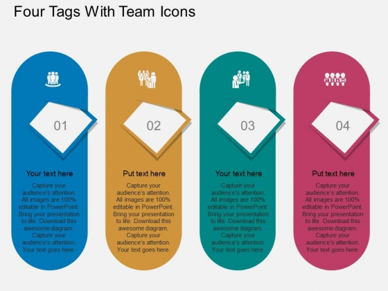 Four Tags With Team Icons Powerpoint Template
