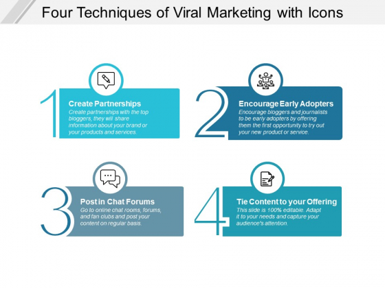 Four Techniques Of Viral Marketing With Icons Ppt PowerPoint Presentation Outline Influencers