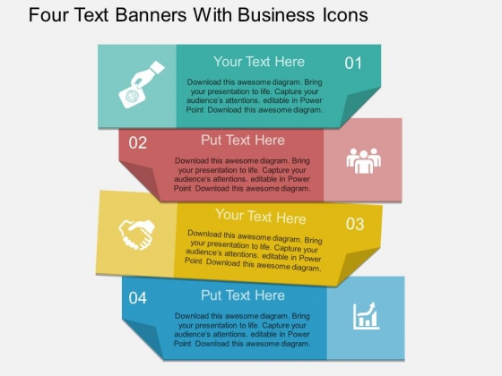 Four Text Banners With Business Icons Powerpoint Template