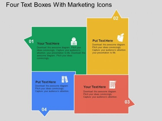 Four Text Boxes With Marketing Icons Powerpoint Templates