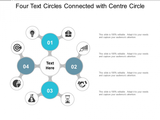 Four Text Circles Connected With Centre Circle Ppt Powerpoint Presentation Pictures Graphic Tips