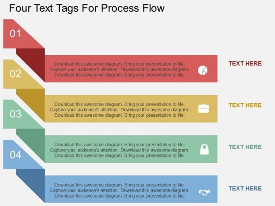 four text tags for process flow powerpoint template powerpoint