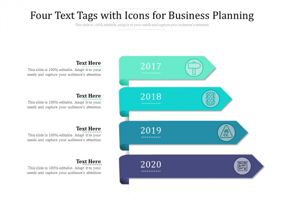 Four Text Tags With Icons For Business Planning Ppt PowerPoint Presentation Visual Aids Summary