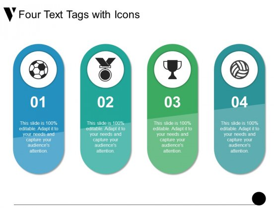 Four Text Tags With Icons Ppt PowerPoint Presentation Show Example