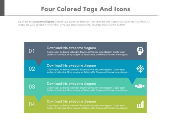 Four Text Tags With Planning Icons Powerpoint Template