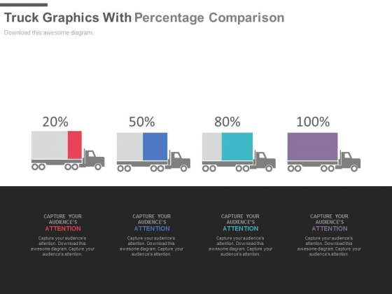 Four Trucks With Percentage Values For Comparison Powerpoint Slides