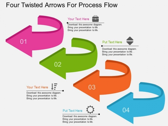 Four Twisted Arrows For Process Flow Powerpoint Template