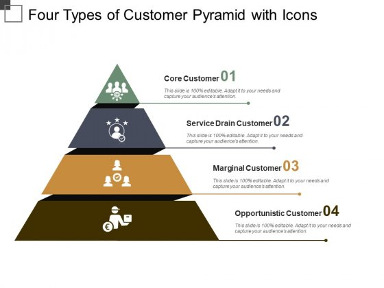 Four Types Of Customer Pyramid With Icons Ppt PowerPoint Presentation Professional Templates