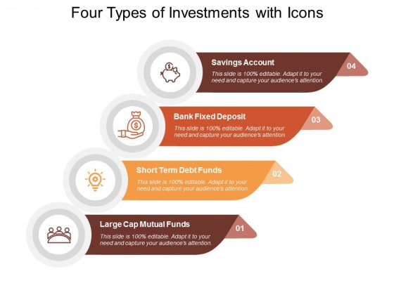 Four Types Of Investments With Icons Ppt PowerPoint Presentation Slides Icons