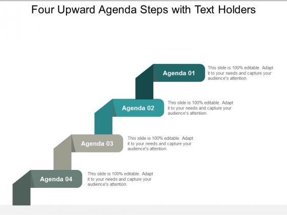 Four Upward Agenda Steps With Text Holders Ppt Powerpoint Presentation Ideas Brochure